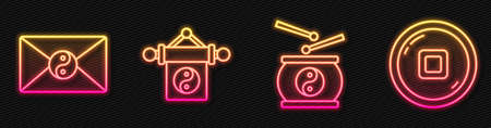 Set line Chinese drum, Yin Yang and envelope, Yin Yang and Chinese Yuan currency. Glowing neon icon. Vector