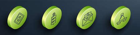 Set Isometric Yin Yang, Firework, Yin Yang and envelope and Dumpling on cutting board icon. Vector 일러스트