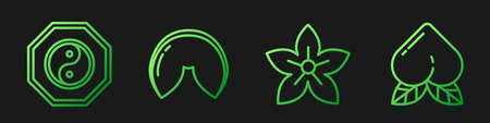 Set line Lotus flower, Yin Yang, Chinese fortune cookie and Peach fruit. Gradient color icons. Vector