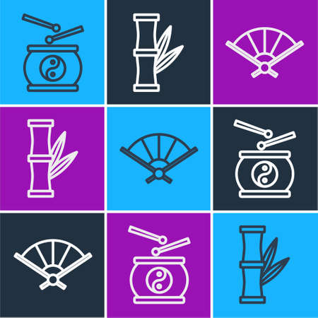 Set line Chinese drum, Paper chinese folding fan and Bamboo icon. Vector