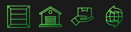 Set line Delivery hand with boxes, Wooden box, Warehouse and Worldwide. Gradient color icons. Vector 일러스트
