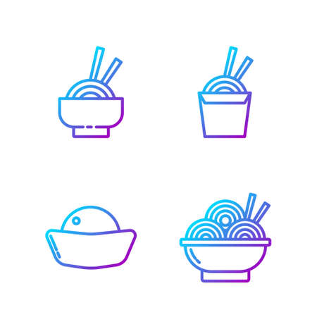 Set line Asian noodles in bowl, Sushi, Asian noodles in bowl and Asian noodles in paper box and chopsticks. Gradient color icons. Vector Vettoriali