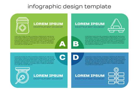Set line Gong, Jar of honey, Firework and Sushi on cutting board. Business infographic template. Vector 일러스트