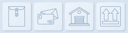 Set line Envelope, Warehouse, Envelope and This side up. White square button. Vector