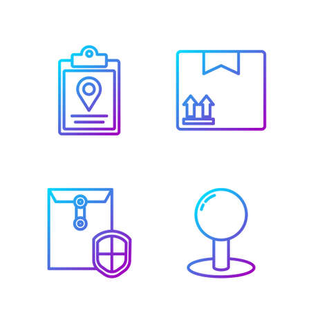 Set line Push pin, Envelope with shield, Document tracking marker system and Cardboard box with traffic symbol. Gradient color icons. Vector