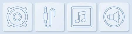 Set line Stereo speaker, Music note, tone, Audio jack and Speaker volume. White square button. Vector 일러스트