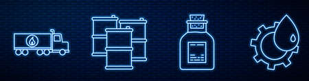 Set line Oil petrol test tube, Tanker truck, Barrel oil, Oil industrial factory building and Barrel oil. Glowing neon icon on brick wall. Vector