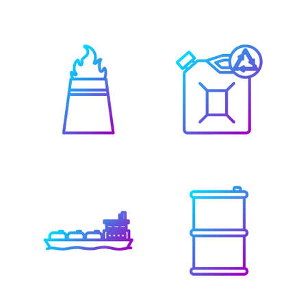Set line Barrel oil, Oil tanker ship, Oil rig with fire and Eco fuel canister. Gradient color icons. Vector