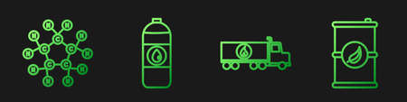 Set line Tanker truck, Molecule oil, Canister for motor machine oil and Bio fuel barrel. Gradient color icons. Vector