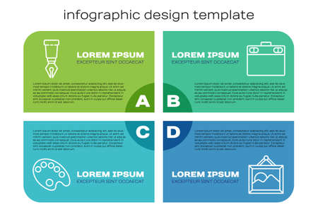 Set line Palette, Fountain pen nib, Picture landscape and Graphic tablet. Business infographic template. Vector