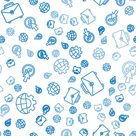 Set line Globe of the Earth and gear, Briefcase and Cursor and coin on seamless pattern. Vector