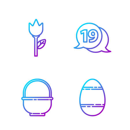 Set line Easter egg, Basket, Flower tulip and Speech bubble with happy easter. Gradient color icons. Vector