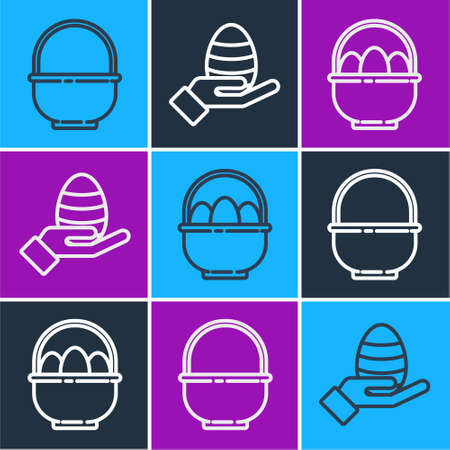 Set line Basket, Basket with easter eggs and Human hand and easter egg icon. Vector