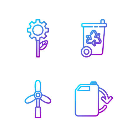 Set line Eco fuel canister, Wind turbine, Leaf plant in gear machine and Recycle bin with recycle. Gradient color icons. Vector