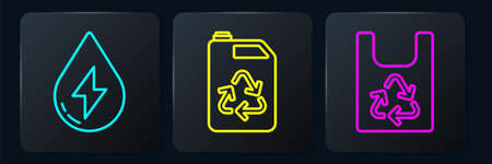 Set line Water energy, Plastic bag with recycle and Eco fuel canister. Black square button. Vector Stock Illustratie