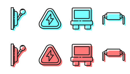Set line Fuse, Electrical panel, High voltage and Resistor electricity icon. Vector Vector Illustratie
