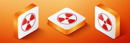 Isometric Radioactive icon isolated on orange background. Radioactive toxic symbol. Radiation Hazard sign. Orange square button. Vector 일러스트