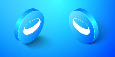 Isometric Bowl icon isolated on blue background. Blue circle button. Vector
