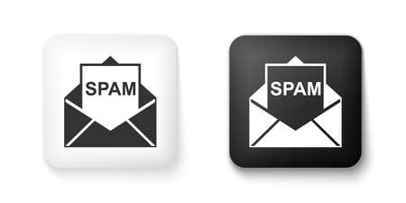 Black and white Envelope with spam icon isolated on white background. Concept of virus, piracy, hacking and security. Square button. Vector