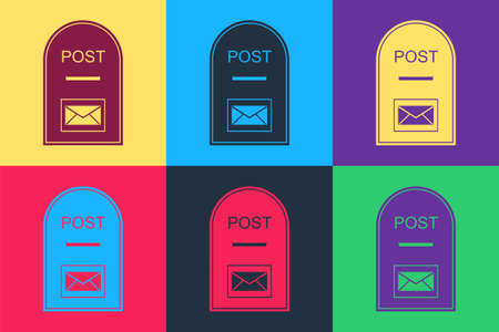 Pop art Mail box icon. Post box icon isolated on color background. Vector