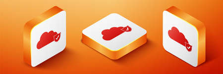 Isometric Cloud and shield with check mark icon isolated on orange background. Cloud storage data protection. Security, safety, protection, privacy. Orange square button. Vector 일러스트