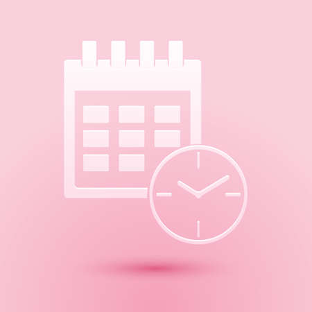 Paper cut Calendar and clock icon isolated on pink background. Schedule, appointment, organizer, timesheet, time management, important date. Paper art style. Vector 일러스트