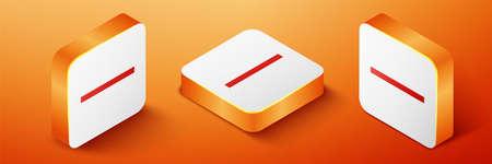 Isometric Ruler icon isolated on orange background. Straightedge symbol. Orange square button. Vector