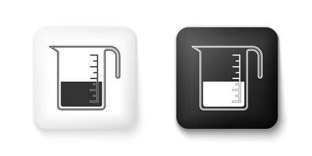 Black and white Measuring cup to measure dry and liquid food icon isolated on white background. Plastic graduated beaker with handle. Square button. Vector 일러스트