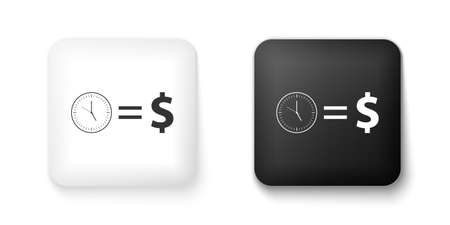 Black and white Time is money icon isolated on white background. Money is time. Effective time management. Convert time to money. Square button. Vector