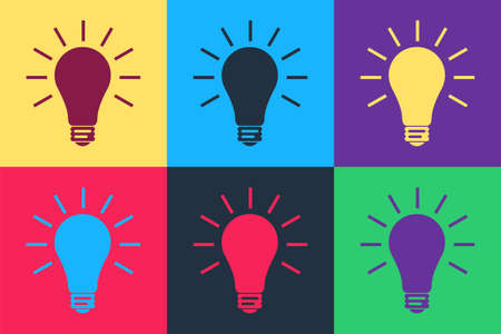 Pop art Light bulb with rays shine icon isolated on color background. Energy and idea symbol. Lamp electric. Vector