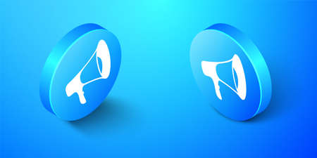 Isometric Megaphone icon isolated on blue background. Blue circle button. Vector 일러스트