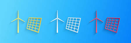 Paper cut Wind mill turbines generating electricity and solar panel icon isolated on blue background. Energy alternative, concept of renewable energy. Paper art style. Vector 일러스트