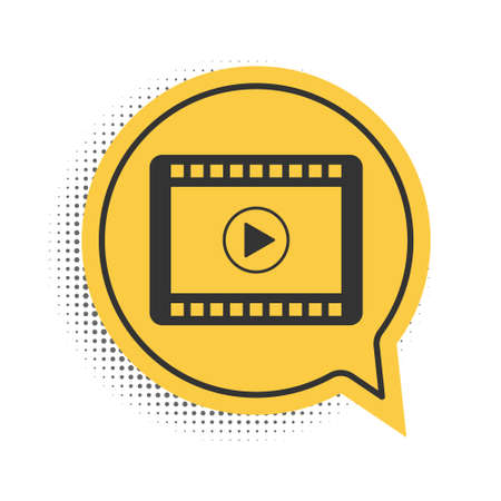 Black Play Video icon isolated on white background. Film strip with play sign. Yellow speech bubble symbol. Vector Ilustracja