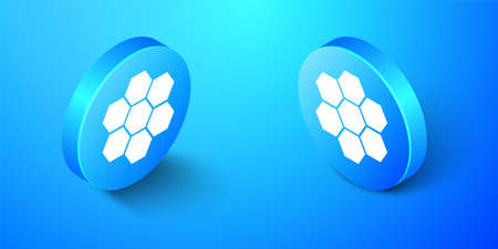 Isometric Honeycomb sign icon isolated on blue background. Honey cells symbol. Sweet natural food. Blue circle button. Vector