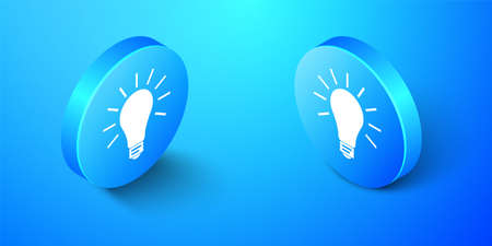Isometric Light bulb with rays shine icon isolated on blue background. Energy and idea symbol. Lamp electric. Blue circle button. Vector Illusztráció