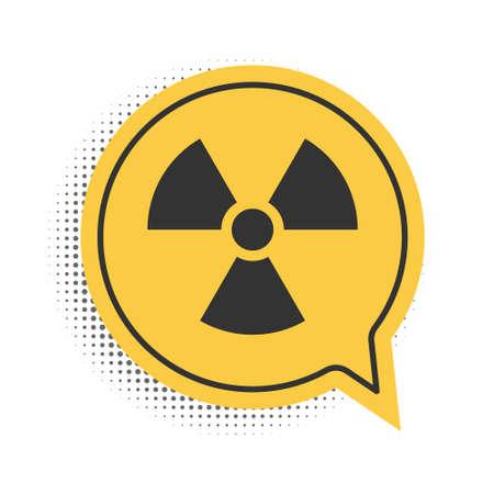 Black Radioactive icon isolated on white background. Radioactive toxic symbol. Radiation Hazard sign. Yellow speech bubble symbol. Vector