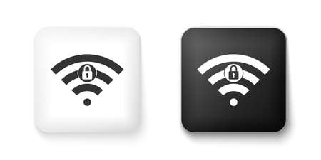Black and white Wifi locked sign icon isolated on white background. Password Wifi symbol. Wireless Network icon. Wifi zone. Square button. Vector