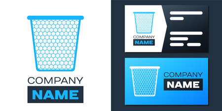 Logotype Trash can icon isolated on white background. Garbage bin sign. Recycle basket icon. Office trash icon. Logo design template element. Vector