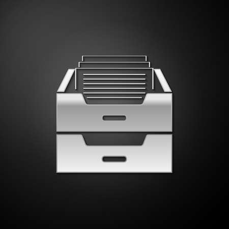 Silver Drawer with documents icon isolated on black background. Archive papers drawer. File Cabinet Drawer. Office furniture. Long shadow style. Vector 일러스트