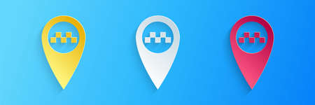 Paper cut Map pointer with taxi icon isolated on blue background. Paper art style. Vector 일러스트
