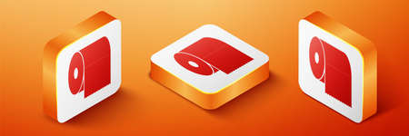 Isometric Toilet paper roll icon isolated on orange background. Orange square button. Vector