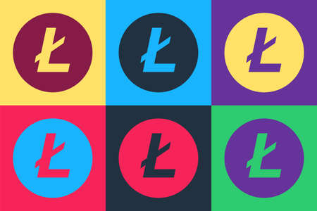 Pop art Cryptocurrency coin Litecoin LTC icon isolated on color background. Digital currency. Altcoin symbol. Blockchain based secure crypto currency. Vector