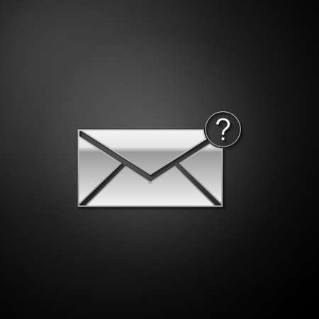 Silver Envelope with question mark icon isolated on black background. Letter with question mark symbol. Send in request by email. Long shadow style. Vector 일러스트