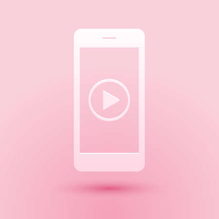 Paper cut Smartphone with play button on the screen icon isolated on pink background. Paper art style. Vector 일러스트