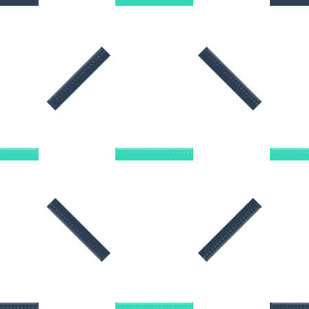 Green Ruler icon isolated seamless pattern on white background. Straightedge symbol. Vector