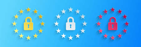 Paper cut GDPR - General data protection regulation icon isolated on blue background. European Union symbol. Security, safety, protection, privacy. Paper art style. Vector