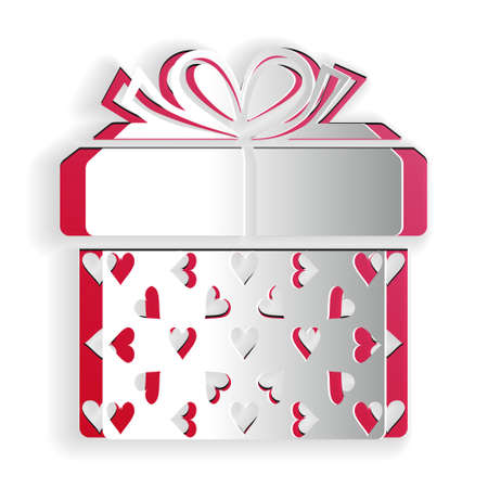 Paper cut Gift box and heart icon isolated on white background. Packaging Valentines Day. Beautiful festive box tied with ribbon and bow on top. Paper art style. Vector