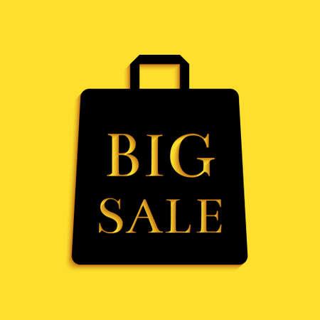 Black Shoping bag with an inscription Big Sale icon isolated on yellow background. Handbag sign. Woman bag icon. Female handbag sign. Long shadow style. Vector