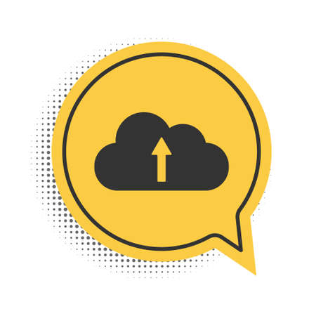 Black Cloud upload icon isolated on white background. Yellow speech bubble symbol. Vector