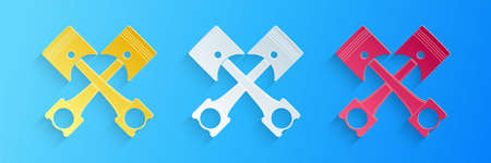 Paper cut Two crossed engine pistons icon isolated on blue background. Paper art style. Vector